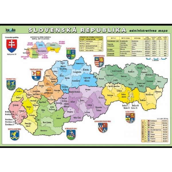 Slovenska Republika Administrativni Mapa Xxl 140 X 100 Cm